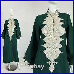 Vintage 70s Kaftan BOHO MAXI DRESS Bell Sleeves EMBROIDERED Hunter Green L Y241