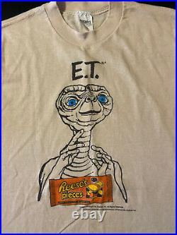 Vintage 80s 1982 E. T. Reese's Pieces Hershey Movie Promo T-Shirt Alien Candy