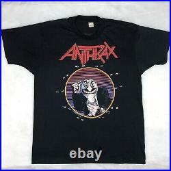 Vintage 80s ANTHRAX DONT YOU FCKING LOOK AT ME CONCERT T-Shirt L metal rock
