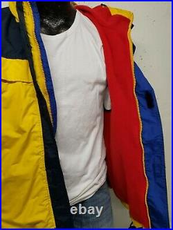 Vintage 90's Tommy Hilfiger Jacket Hooded Parka Mens Small Colorblock