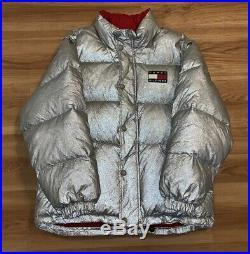 Vintage 90s Tommy Hilfiger Silver Puffer Jacket M/L 3M Big Flag Spell Out Vest