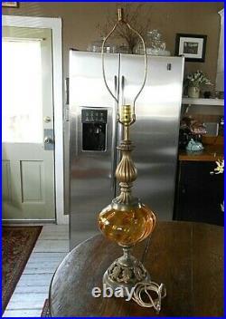 Vintage Amber Glass Globe Table Lamp Mid-Century Modern Hollywood Regency 25