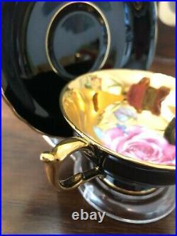Vintage Antique Paragon Red Gold Large Cabbage Rose Tea Cup & Saucer MINT