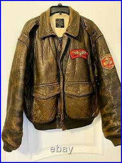Vintage Avirex Hollywood Canteen USAAF Leather Jacket A-2 Size Mens (L)