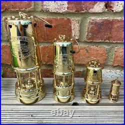 Vintage Brass Metal British Wales Colliery Coal Miners Gas Lighting Safety Lamps