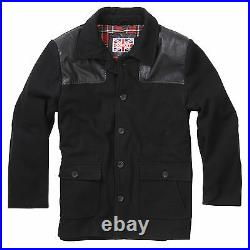 Vintage British Style Workers Red Tartan Lined Black Donkey Jacket BRAND NEW