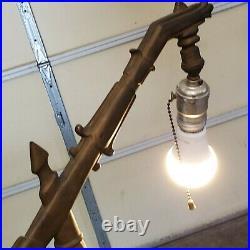 Vintage Bronze Art Deco nouveau Jadite Rembrandt Bridge Lamp Signed & #'d R
