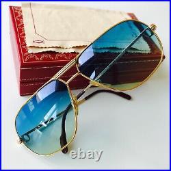 Vintage CARTIER TANK sunglasses 22K gold plated 62/14 LARGE Vendome Tank Santos