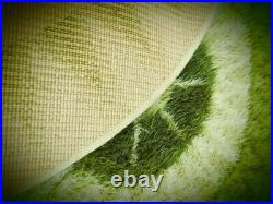 Vintage Danish Mid-century Large Green Abstract Design Shaggy Rug W 54 L 77