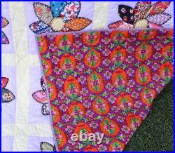 Vintage Estate Hand Made Patchwork Quilt Large Size Comforter Bedding 104 X 88