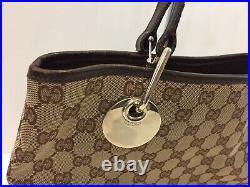 Vintage Gucci Tote Bag GG Monogram Hand Bag Brown