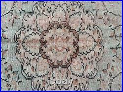 Vintage Hand Knotted Oushak Turkish Large Area Rug