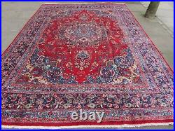 Vintage Hand Made Traditional Oriental Wool Red Blue Large Carpet 336x241cm