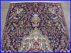 Vintage Hand Made Traditional Rug Oriental Wool Blue Large Rug Carpet 236x134cm