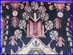 Vintage Hand Made Traditional Rug Oriental Wool Blue Pink Large Carpet 262x180cm