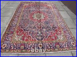 Vintage Hand Made Traditional Rug Oriental Wool Blue Red Large Carpet 290x197cm