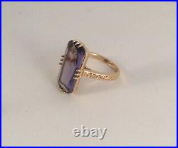 Vintage Jewellery Gold Ring with large Amethyst Antique Deco Jewelry size 10