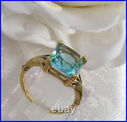 Vintage Jewellery Gold Ring with large Aquamarine Antique Deco Jewelry size 6