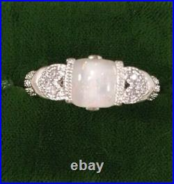 Vintage Jewellery White Gold Ring Opal Sapphires Antique Deco Jewelry large sz T