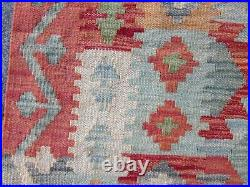 Vintage Kilim Traditional Hand Made Oriental Blue Wool Large Kilim 183x136cm