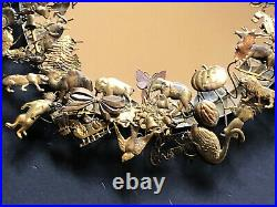 Vintage LARGE DRESDEN MIRROR Brass HOLIDAY WREATH 64 Animals Antique Bow Metal