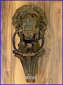 Vintage Large 15 1/4 Cast Iron Lion Door Knocker Architectural Salvage