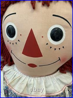 Vintage Large 48 Knickerbocker Raggedy Ann Cloth Doll Original Clothes Tag Rare