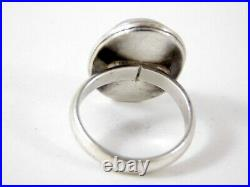 Vintage Large Blue Rainbow Moonstone Cabochon Sterling Silver Ring Size 5.5
