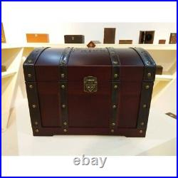 Vintage Large Colonial Wooden Box Treasure Storage Chest Easter Wooden Trunk