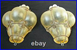 Vintage Murano Pair Wall Sconces Light Hand Blown Caged Glass Scavo Antique