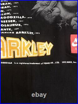 Vintage Nike Air T-shirt 1992 Godzilla Vs Charles Barkley Size Large RARE! Mint