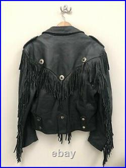 Vintage Open Road Fringe Leather Motorcycle Riding Bike Jacket Size L Black