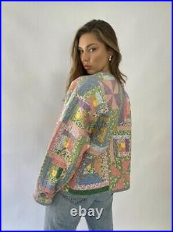 Vintage Patchwork Chore Jacket Cotton Pastel Ashley Quilt Laura
