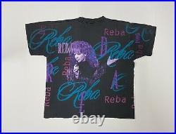Vintage Reba 1995 All Over Print T-Shirt Size Large