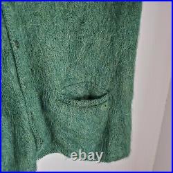 Vintage Regency Mohair Cardigan Cobain Sweater Grunge Fuzzy Men's Large Green