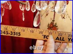 Vintage Spain French Empire Art Nouveau Brass Crystal 8 Arm Light Chandelier