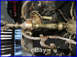 Vintage Spanish Brass Chandelier 6 Candlestick Lights Works