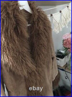 Vintage Suede Mongolian Fur Afghan Coat Jacket L 12 14 Simone Almost Famous