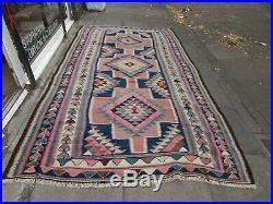 Vintage Traditional Hand Made Oriental Wool Pink Blue Large Kilim 326x188cm