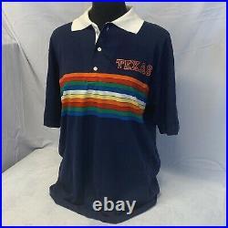 Vintage Velva Sheen UT University Of Texas Polo Shirt Rainbow Stripe Large