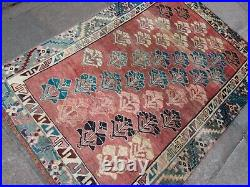 Vintage Worn Hand Made Traditional Oriental Wool Red Blue Large Rug 194x136m