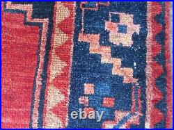 Vintage Worn Hand Made Traditional Oriental Wool Red Blue Large Rug 216x133cm
