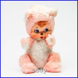 Vtg 1950's The Rushton Company Rubber Faced Teddy Bear Plush Doll Large 15 Inch