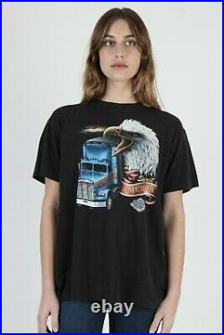 Vtg 80s 3D Emblem Truckers Only Spirit of America 2 Sided Truck Stop OH T Shirt