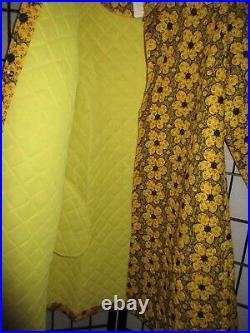 Vtg Miss Elaine Quilted 100 % Cotton Floral Robe Coat Housecoat Nwot Yellow Red