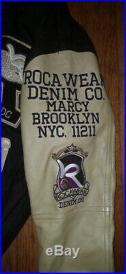 Vtg ROCAWEAR Varsity Letterman LEATHER/WOOL Bomber Jacket Hip Hop 90s Large
