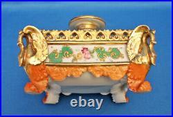 Vtg antique French Empire porcelain Jacob Petit large square DRESSER PERFUME JAR