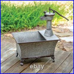 Water Pump Planter Galvanized Metal Unique Rustic Vintage Look