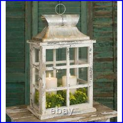 Windowpane Lantern Rustic Farmhouse Pillar Candle Holder Vintage Look