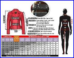 Womens Motorcycle Biker Real Leather Jacket Lambskin Leather Top Slim fit S-3XL